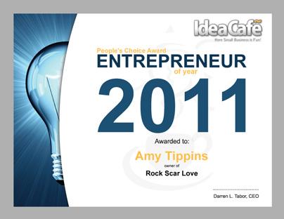 Entrepreneur of 2011 Winner Certificate